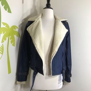 New Forever 21 Denim Jean Moto Jacket Size Small